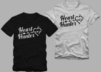 Heart Hunter, valentine's day greetings, love message t shirt design, love t shirt design, heart hunter t shirt design for commercial use