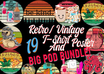 Retro Vintage Mixed 19 Png+ PSD Bundle POD Ready Top Trending Best Selling Most Popular