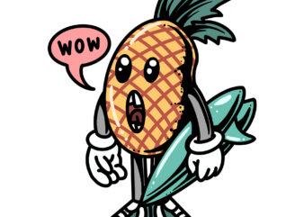surfing pineapple