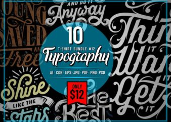 TYPOGRAPHY T-SHIRT DESIGNS BUNDLE PART 12