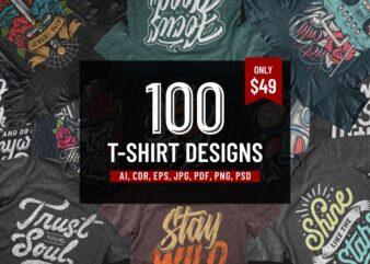 100 T-SHIRT DESIGNS BUNDLE Part 1