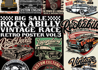 BIG SALE ROCKABILLY, VINTAGE RACE & RETRO POSTERS VOL 3