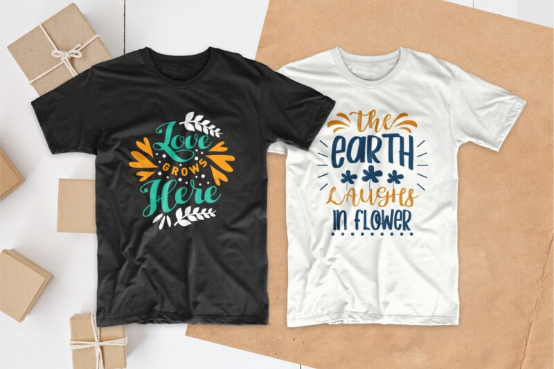 Spring t-shirt designs bundle, Spring qoutes svg, Set of Spring season t shirt design bundles pack collection, EPS SVG PNG PSD
