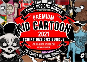 25 Kid Cartoon Tshirt Designs Bundle #1