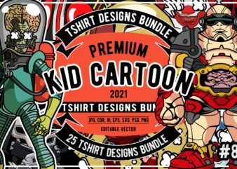 25 Kid Cartoon Tshirt Designs Bundle #8