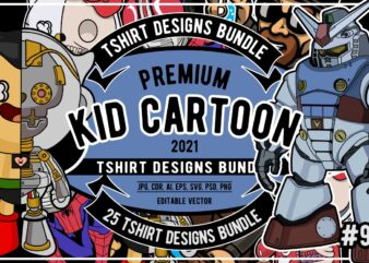 25 Kid Cartoon Tshirt Designs Bundle #9