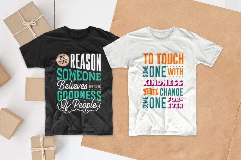 Kindness quotes typography t shirt design bundle, Inspiring saying and phrases lettering t-shirt designs pack collection for commercial use
