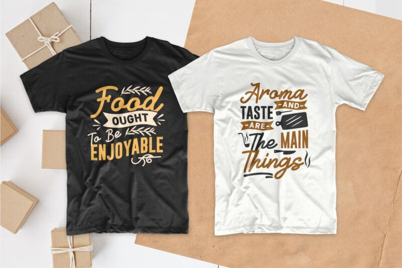 Cooking and chef typography t shirt design quotes bundle collection, Set of Eat T-shirt designs Lettering PSD SVG EPS PNG Vector
