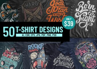 50 T-SHIRT DESIGNS BUNDLE Part 1