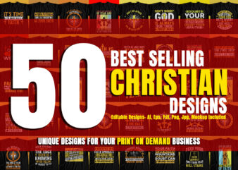 BUNDLE OFFER – 50 Christian T-Shirt Designs – New And Unique Designs For Sale – Huge Discount Offer – Christian Designs – Bible