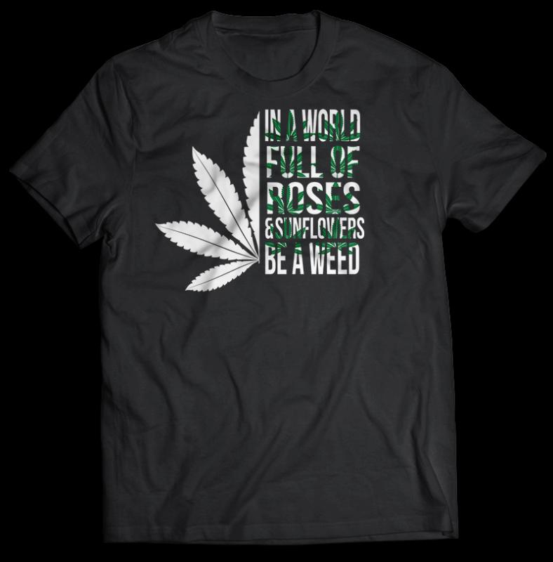 106 weed cannabis marijuana tshirt designs bundle png transparent and psd file editable