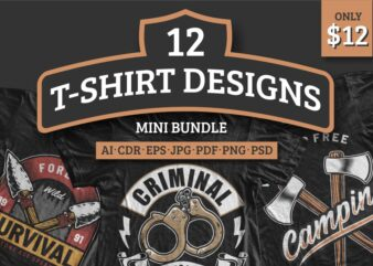 12 T-shirt Designs Mini Bundle