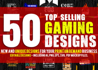 Big Bundle Offer Top Selling 50 Gaming Designs For Sale – Hot Selling Gaming Pack