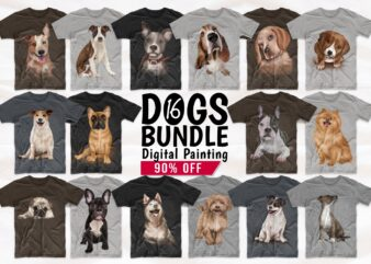 Dogs T shirt Designs Bundle Realistic Digital Painting. Funny Dog Png Collection T-shirt Design. Cute Pug, Canine, Husky, and more