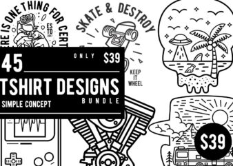 45 Tshirt Designs Bundle Simple Concept
