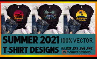 Best selling summer t-shirt designs bundle – 15 summer editable t shirt designs bundle, 100% vector (ai, eps, svg, dxf, png), beach t shirt design bundle, surf t shirt bundle, surfing t shirt design bundle, summer t shirt design bundle for commercial use