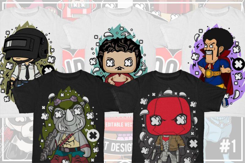 25 Kid Cartoon Tshirt Designs Bundle #7