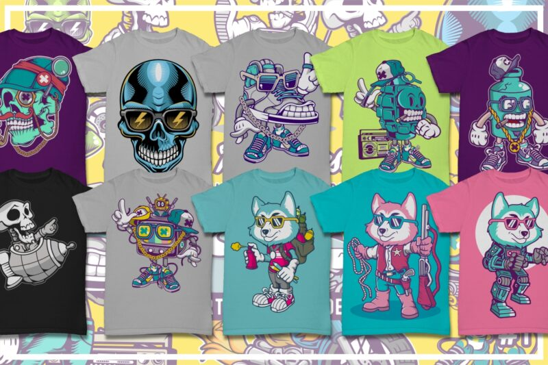 50 Cartoon Tshirt Designs Bundle #8_1