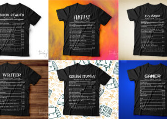 Bundle of 6 nutrition facts t shirt designs ready to print