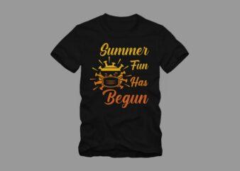 Summer fun has begun t shirt design, Funny summer in covid-19, beach t shirt design, surf t shirt, surfing t shirt design, summer t shirt design for commercial use