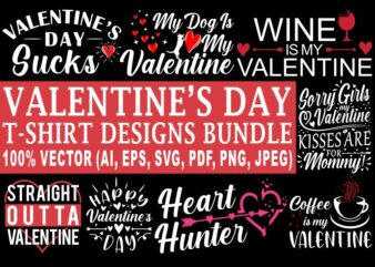 Valentines day t shirt designs bundle, 12 valentine t shirt vector designs, love, valentine, heart, funny valentine designs bundle 100% vector (ai, eps, svg, pdf, png, jpg), Happy Valentines day t shirt bundle for commercial use.