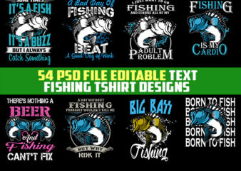 54 Fishing Bundle Tshirt Design Completed with PSD File Editable Text And Layer UPDATE