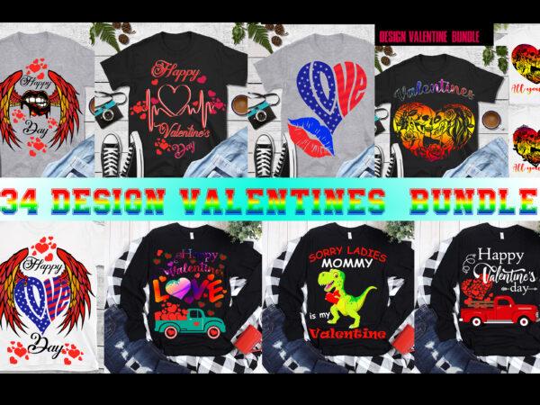 Valentines bundle, 34 design bundle Valentines t shirt design, Happy Valentine's Day t shirt design