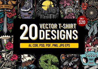 20 vector T-shirt Designs Bundle