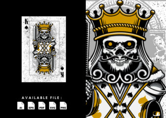 Queen Skull Playing Card Vector T-shirt Design