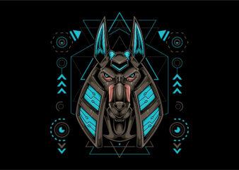 Anubis head mecha cyberpunk style