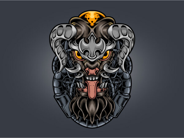 Devil fang horned cyberpunk t shirt vector illustration