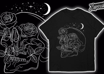Line Art Skull rose T-shirt design