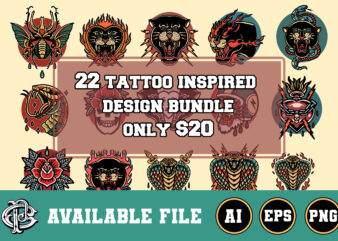 22 tattoo inspired design bundle t-shirt design