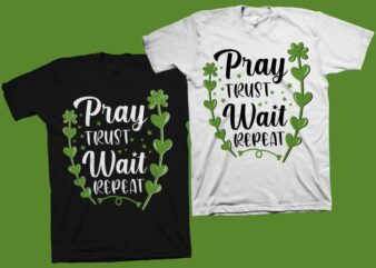 Pray Trust Wait Repeat t shirt design – Christian motivation quote vector illustration for sale