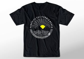 t shirt design graphic, vector, illustrationparadise california beach lettering typography
