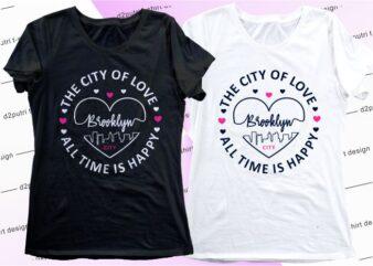 women, girls, ladies, t shirt design graphic, vector, illustration brooklyn city lettering typography