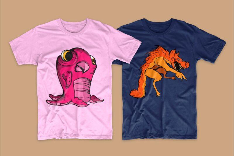 50 Monster animal t-shirt designs bundle, Cartoon t shirt design collection, t-shirt design vector packs