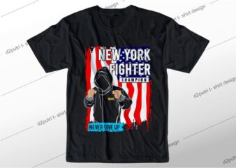 t shirt design graphic, vector, illustration new york fighter lettering typography