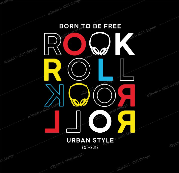 music t shirt design graphic, vector, illustration born to be free rock and roll lettering typography