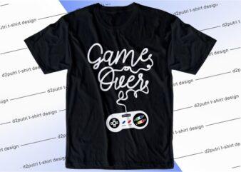 gamer t shirt design graphic, vector, illustration new york city lettering typography