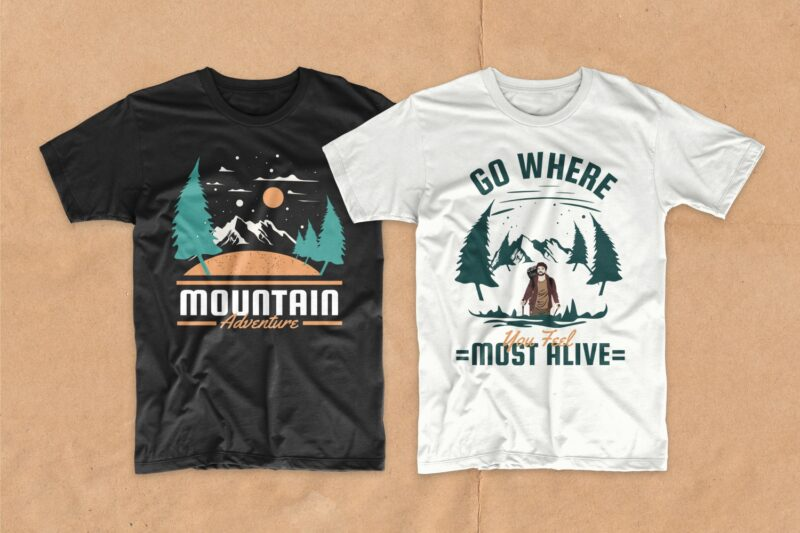 Adventure t shirt designs bundle, outdoor t-shirt designs, editable adventure quotes t-shirt design pack collection, commercial use t shirt designs, vector t shirt design