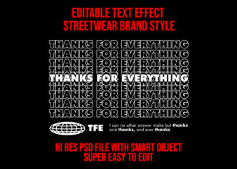 Editable text effect streetwear style #2 psd file with smart layer