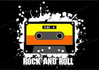 music t shirt design graphic, vector, illustration rock and roll cassette lettering typography