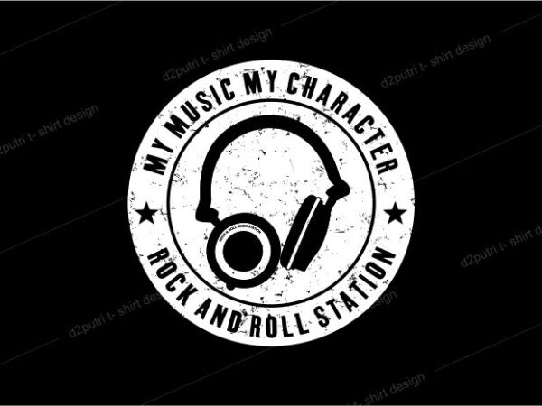 music t shirt design graphic, vector, illustration rock and roll station lettering typography
