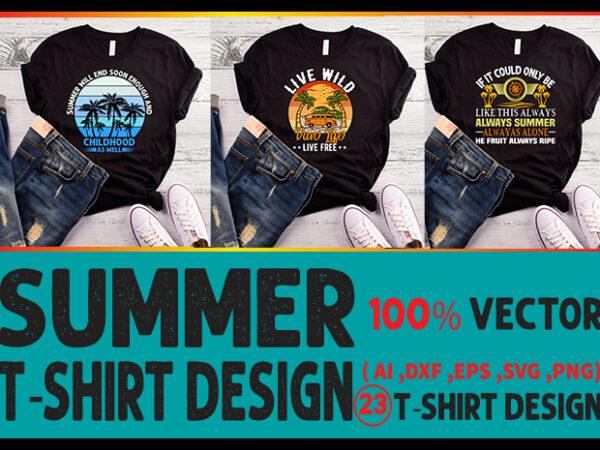 Best selling summer t-shirt designs bundle – 23 summer t shirt designs bundle, 100% vector (ai, eps, svg, dxf, png), beach t shirt design bundle, surf t shirt bundle, surfing t shirt design bundle, summer t shirt design bundle for commercial use