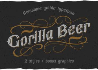Gorilla beer – gothic typeface