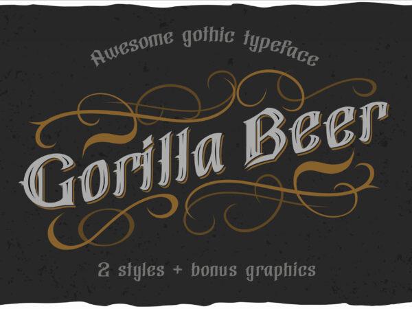 Gorilla beer – gothic typeface t shirt design template