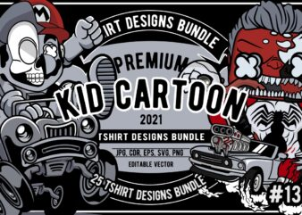 25 Kid Cartoon Tshirt Designs Bundle #13
