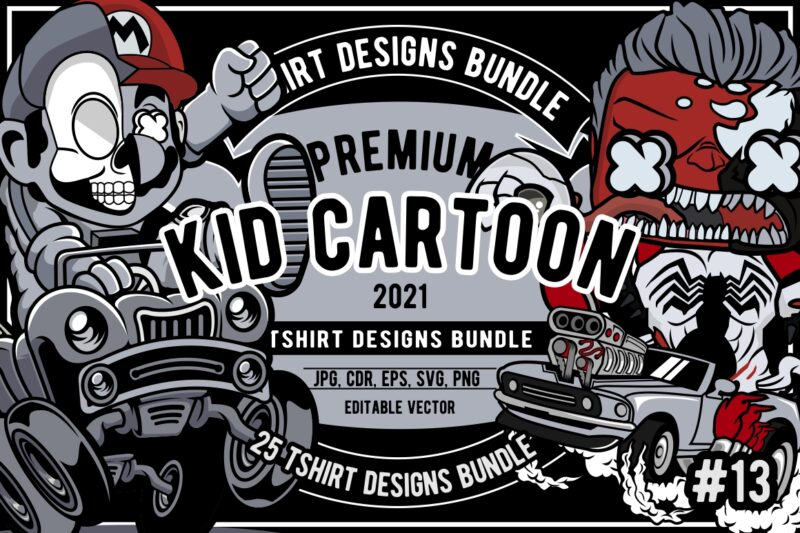 25 Kid Cartoon Tshirt Designs Bundle #13