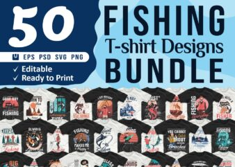 Fishing t shirt designs bundle, Editable Fishing quotes t-shirt design pack collection, commercial use t shirt designs, Vector t shirt design